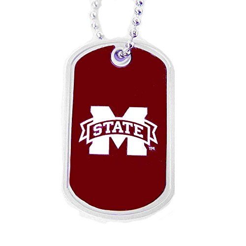 - aminco Mississippi State Bulldogs NCAA College Team Logo Pet Dog Tag ID Domed Necklace Neck Tag Charm Chain