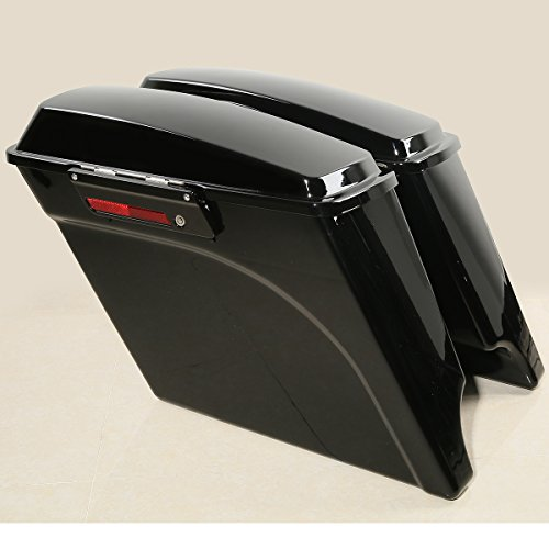 (XFMT Vivid Black 5 Inch Stretched Extended Saddlebags with Lid Latch Keys Compatible with Harley Touring FLH FLT Electra Glide Road king Ultra Street 1994-2013)