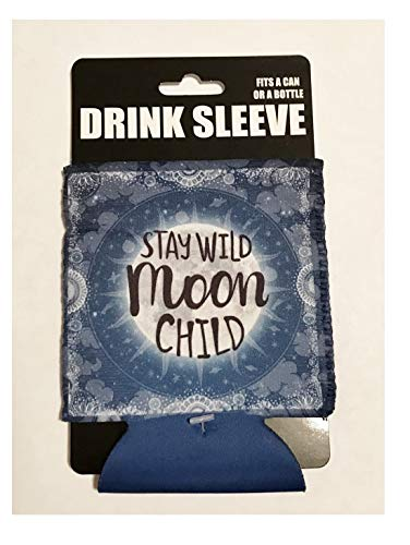 Blue and White Stay Wild Moon Child Design Drink Beer Can or Bottle Sleeve