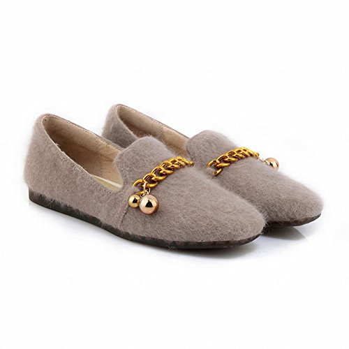 Carolbar Women's Comfort Warm Chains Square Toe Flat Loafer Shoes Beige 1BS4x1jS