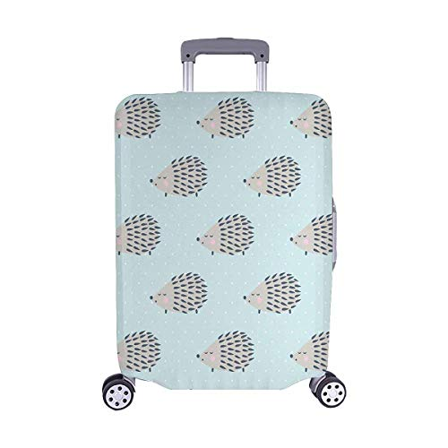InterestPrint Cute Cartoon Hedgehog on Mint Polka Dots Travel Luggage Cover Suitcase Baggage Protector Fits 22