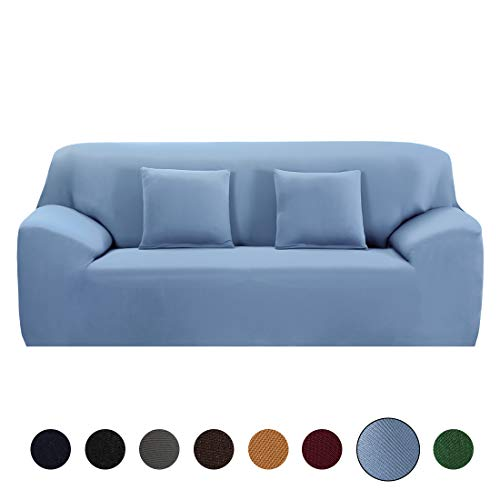 "JQinHome Sofa Slipcovers Stretch Furniture Sofa Cover Polyester Spandex Fabric Super Soft Couch Slip Cover, Stretching Skid Resistant Sofa Protector (Sofa-3 Seater (77""-91""), Blue)"