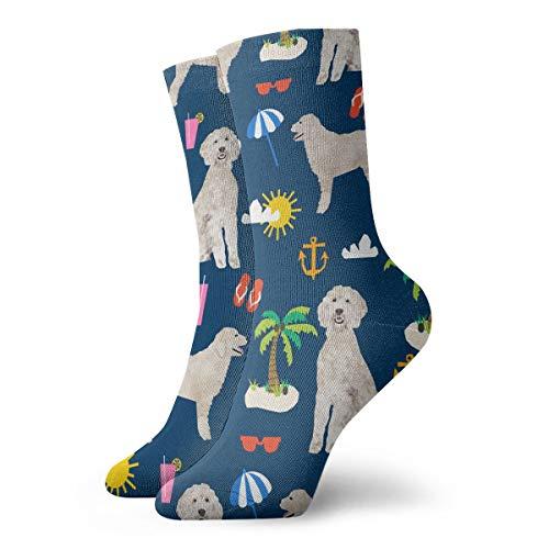 NEWINESS Goldendoodle Dog Beach Puppy Crew Socks All Season Soft Novelty Dress Socks Cotton Breathable Compression Socks for Men Women Teens ()