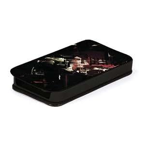 Diabloskinz L0026-0034-0036 - Funda de piel con tapa para iPhone 4 y 4S, color negro y rojo