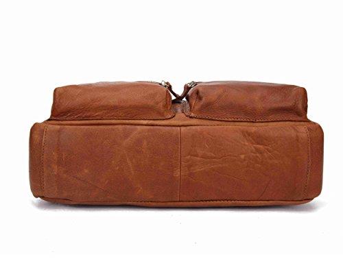 BAIGIO Damen Herren Handtasche Laptoptasche Businesstasche Collegetasche ledertasche Schultertasche Studententasche Umhängetasche aus eschtem Leder Groß Praktisch Tasche, Braun