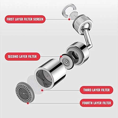 Gebuter Stainless Steel Water Saver 720 Rotatable Anti Splash Filter Faucet Water Atomizer Faucet Aerator Adjustable Filter Swivel Taps for Kitchen Sink Tap Cold Hot Water Faucet Aerator