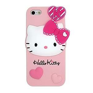 Rosa Hello Kitty suave piel funda Cover Carcasa Cubierta Caso Case Skin de silicona para el tel¨¦fono m¨®vil para Apple iPhone 4 4G 4s 4th Generation with LLMART Nylon Cable Tie