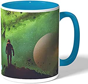trip to space Coffee Mug by Decalac, Blue - 19096