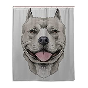 "LIANPEN American Pit Bull Terrier Toile Shower Curtains for Bathroom Durable Waterproof with 12 Hooks Shower Curtain Fabric for Bathtub Showers 60""x72"" Machine Washable 10"
