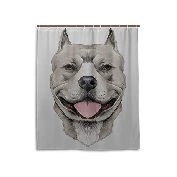 """LIANPEN American Pit Bull Terrier Toile Shower Curtains for Bathroom Durable Waterproof with 12 Hooks Shower Curtain Fabric for Bathtub Showers 60""""x72"""" Machine Washable 1"""