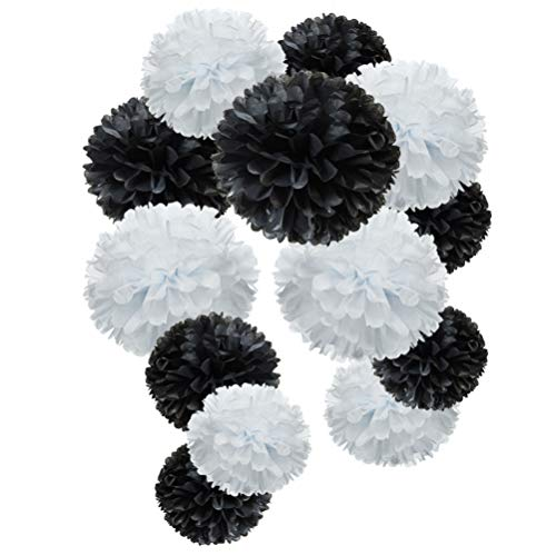 Black And White Party Decorations (Black and White Paper Flower Tissue Pom Poms Party Supplies)