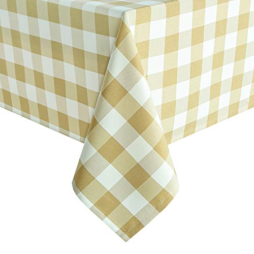 Homedocr Checkered Tablecloth Rectangle - Stain Resistant, Spillproof and Washable Polyester Table Cloth for Dining Room, Kitchen and Party, 60 x 120 Inch, Honey Yellow and White Gingham Cloth ()