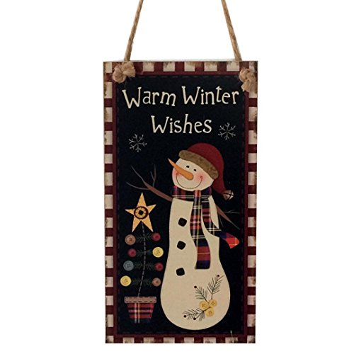 Leewa@ Indoor Outdoor Wood Holiday Christmas Hanging Door Decorations For Home, School, Office, Party Decorations (G)