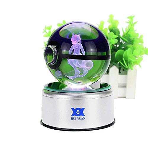 - 3D Crystal Ball Fancy LED Lighting and Spinning Primary Base Advance 3D Laser Engraving Valentine Children's Gift (Mewtwo)