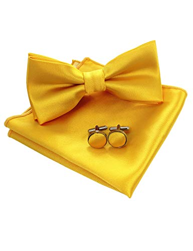 (JEMYGINS Mens Yellow Pre-tied Bow Tie and Pocket Square Cufflink Set)