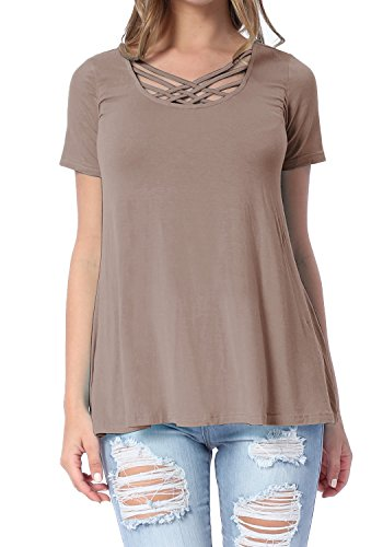 levaca Womens Short Sleeve Criss Cross Front Neck Loose Casual T Shirt Tops