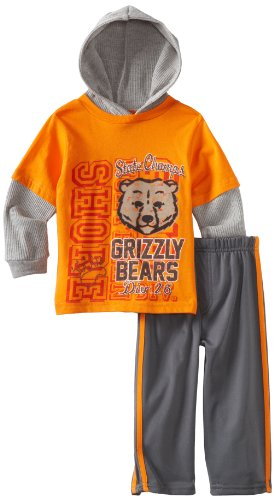 Little Rebels Little Boys' 2 Piece Grizzly Bears Tricot Pant Set