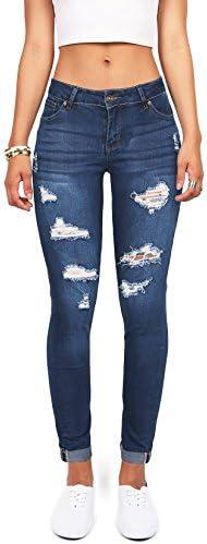Wax Denim - Pantalones de jean, ajustados y elastizados, para mujeres