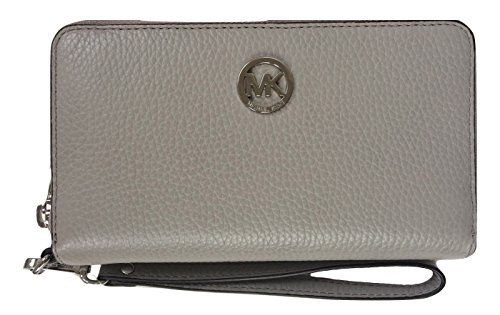 Michael Kors Fulton Large Flat Multifunction Leather Phone Case (Pearl Grey) by Michael Kors