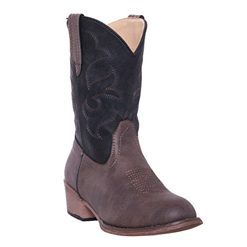 Silver Canyon Children Monterey Kids Western Black and Brown Cowboy Boot for Boys and Girls Size 13, Black and Distressed Brown (Kids Distressed Leather)