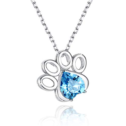 SIMPLOVE Dog Paw Pendant Necklace for Women Girls, 925 Sterling Silver Paw Print Necklace with Blue Cubic Zircon, 18'' Dog Blue Paw Prints