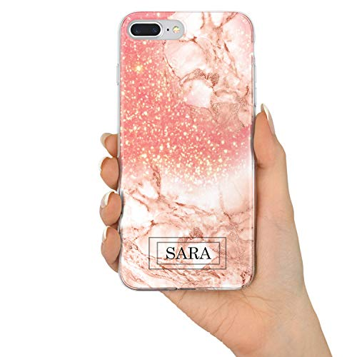 TULLUN Custom Rose Gold Marble & Glitter Effect Personalized Name Initials Text Hard Phone Case Cover for iPhone - Design V7 - for iPhone 7 Plus / 8 Plus