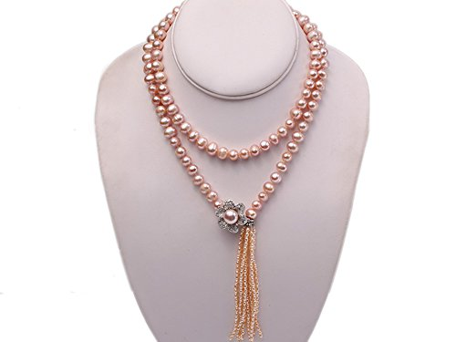 JYX 9-10mm Natural Pink Round Freshwater Pearl Necklace by JYX Pearl