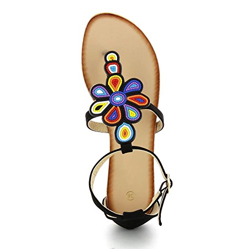 Fleurs Sandales Noir Plates Go Multicolores A Tendance nS5q5x6z