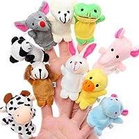 Cuttlefish Velvet Cute Animal Style Finger Puppets for Children, Shows, Playtime, Schools - 10 Animals Set