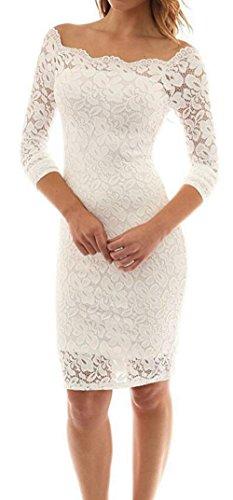 FANTIGO Femme Robe de Soire Bustier Dentelle Cocktail Manches 3/4 Robe de Fete Blanc