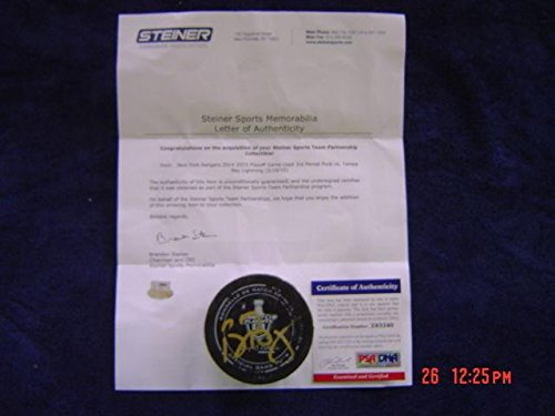 (Tampa Bay Lightning Ben Bishop Game Used Signed 2015 Playoff Puck Steiner #3 - PSA/DNA Certified - Autographed Other Game Used NHL Items)