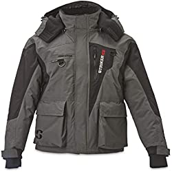 Striker Ice Men's Fishing Cold Weather Waterproof Insulated Hooded Predator Jacket, Gray/Black, Large