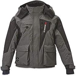 Striker Ice Men's Fishing Cold Weather Waterproof Insulated Hooded Predator Jacket, Gray/Black, Large