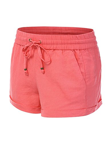 JJ Perfection Women's Casual Linen Drawstring Solid & - Girls Linen Shorts