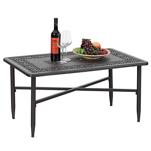 PHI VILLA 38.6 x23 Outdoor Patio Retro Tea Table Cast Aluminum Rectangular Elegant Bistro Coffee Table – Frosted Surface