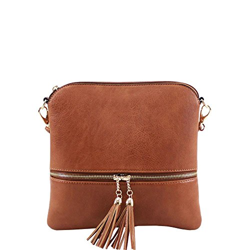 Brown DETAIL POCKET CROSSBODY MESSENGER BAG TASSEL WOMENS BACK NEW FAUX LEATHER 0O8qIvY