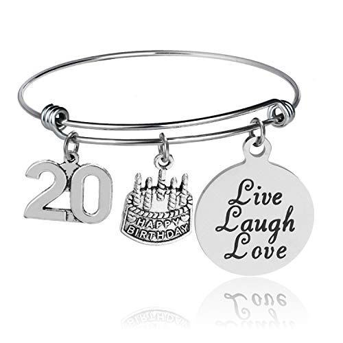 YeeQin Happy Birthday Bangles, Cake Cheer Live Laugh Love Charms Bangle Bracelets, Gifts for Her (20th -