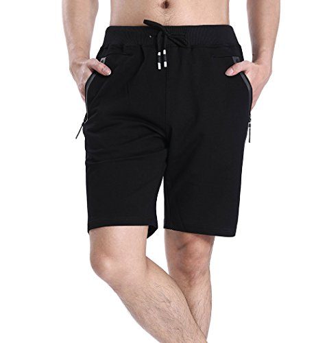 Tansozer Men's Cotton Casual Fit Shorts,Elastic Waist Short Pants with Zipper Pockets Fashion Shorts Summer(Large, (Casual Cotton Short)