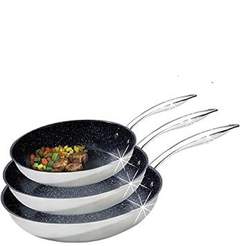 Tutti Cuisine - Lote de 3 sartenes de piedra y acero inoxidable: Amazon.es: Hogar