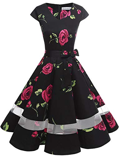 Gardenwed Women's 1950s Rockabilly Cocktail Party Dress Retro Vintage Swing Dress Cap-Sleeve V Neck Black Rose XS]()