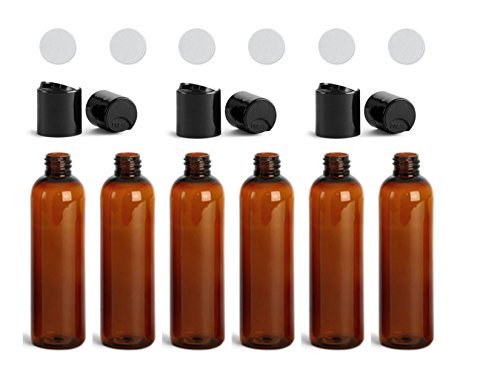 Amber Plastic Bottles 4 Oz PET Cylinder Empty Squeeze Refillable Bottle BPA Free with Black Smooth Disc Caps (6, Amber, (Cosmo Amber Finish)