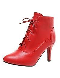 RAZAMAZA Women Sexy Lace up Boots Stiletto High Heel Ankle Booties