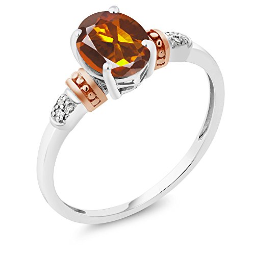 925 Sterling Silver and 10K Rose Gold Ring Orange Red Madeira-Citrine with Diamond Accent (1.10 cttw, Available in size 5,6,7,8,9)