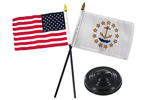 ALBATROS Rhode Island State with USA America American Flag 4 inch x 6 inch Desk Set Table with Black Base for Home and Parades, Official Party, All Weather Indoors Outdoors ()
