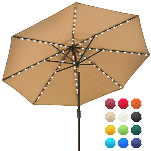EliteShade Sunbrella Solar Umbrellas 9ft Market Umbrella with 80 LED Lights Patio Umbrellas Outdoor Table Umbrella with Ventilation and 5 Years Non-Fading Guarantee,Heather Beige (Patio Led Umbrella)