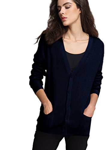 Escalier Women Classic Cardigan V-Neck Button Down Knitwear Top Sweater (12, Navy)