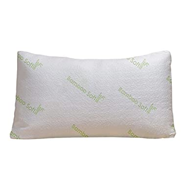 Bamboo Soft Poly Fill Pillow - Bamboo Pillow With Shredded Down Alternative and Stay Cool Cover (Queen)