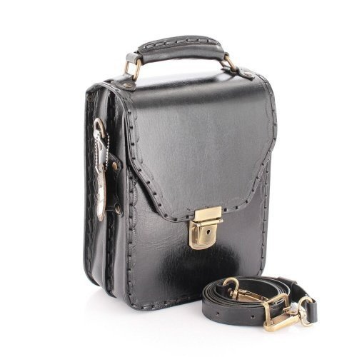 Leather Messenger Bag for Men Leather Satchel Vertical Black by EleganceAccessories