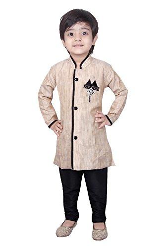Baby Kurta Pyjama Sherwani Suit Indian Wedding Boy Bollywood Indo Western Party Wear Ethnic Dress (BW-9988) BEIGE & BLACK