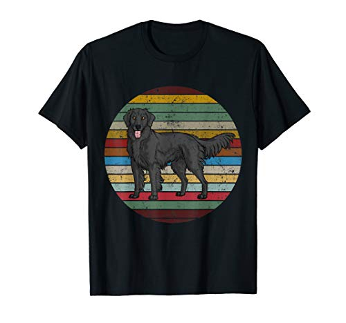 Vintage Retro Flat Coated Retriever Dog Lovers T Shirt